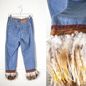 Vintage Levi 501 High Waist Festival Feather Jeans
